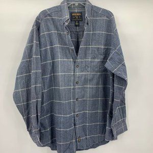 Woolrich Mens Shirt Blue Ivory Windowpane Pocket L